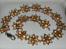 Beautiful Sterling Silver Citrine Flower Cluster Tennis Style Bracelet. 9.4g