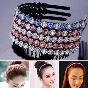 Women Girl Crystal Hairband Rhinestone Headband With Teeth Hair Comb Head Hoop