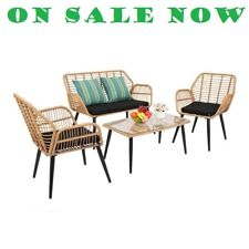 PE Steel Outdoor Rattan Chair Four-Piece Patio Furniture Set Yellow,UK Store