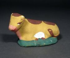 Vintage French Hand-Painted Terracotta  Santon From Provence, Ox, Cow