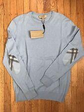 NWT Burberry Men's Richmond Light Blue Check Elbow Patch Sweater - Size Medium