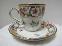 Schumann Bavaria Porcelain Dresden Demitasse Cup & Saucer w/Flowers & Gold Trim