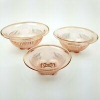 Vintage Rolled Rim Nesting Mixing Bowls Set of 3 Peach/Pink Federal Hazel Atlas