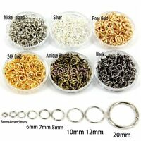 Lots 4/5/6/7/8/9/10/12mm Split Rings Gold Silver Key Jump Ring Jewelry findings
