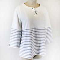 Talbots Plus Size White Striped Nautical Strings Neck Blouse Cotton Top Tunic 2X