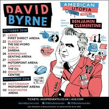 "David Byrne ""American Utopia Tour 2018"" Uk Concert Poster-New Wave,Talking Heads"