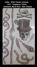 Vodoo  Witch Doctor Costume temporary tattoo Halloween Mardi Gras  New Orleans