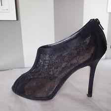 Glint Nordstrom black Lace Stiletto Bootie Heels Shoe sz 11 open toe  k