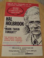 "VTG 1976 Theatre Flyer~Hal Holbrook in~""MARK TWAIN TONIGHT!""~San Francisco CA~"