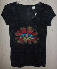 NWT WOMENS / JUNIORS SPARKLY SUPERMAN BLACK & GRAY PRINT T-shirt   SIZE XL