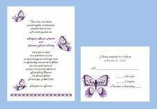 100 Personalized Custom Scroll Purple Butterfly Bridal Wedding Invitations Set