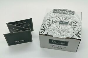 """Shannon Godinger Dublin Collection Crystal Glass 4"""" Coasters Set of 4 ~ New"""
