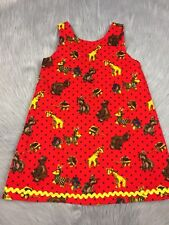 Vintage Handmade Toddler Girls Red Black Corduroy Polka Dot Animal Toy Dress