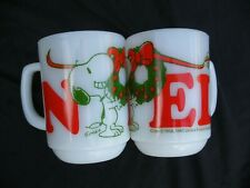 TWO VINTAGE FIRE KING SNOOPY NOEL MUGS IN MINT CONDITION HARD TO FIND