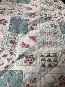 Double Vintage Style Patchwork Quilt Throw Bedspread Comforter Cream Pink Green