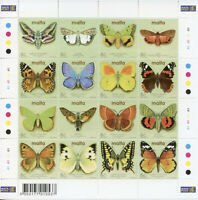 Malta Stamps 2002 MNH Moths & Butterflies Red Admiral Butterfly Insects 16v M/S