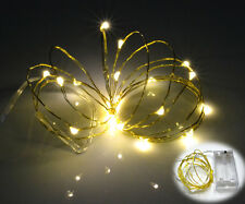 20 Warm White Micro LED Gold Wire Fairy Lights AA Battery Powered