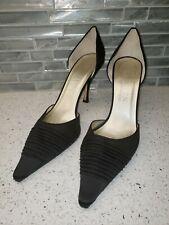 "Anne Klein NY Black Satin Pumps Shoes Sz 8 M Italy 3 1/2"" Heel"