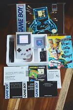 Nintendo ORIGINAL DMG-01 GRAY GAMEBOY BACKLIT BIVERT MOD COMPLETE IN BOX Lot 2