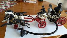 "Utexiqual Cast Iron 16"" Horse Drawn Fire Patrol Wagon–4 Riders 1 Driver 3 Hor c3"
