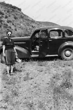 "1940's woman with classic car  vintage 2"" Negative  Kn8"