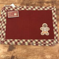"""Rich Home Christmas Gingerbread """"bite Me"""" Plaid Burgundy Placemats  Novelty (4)"""