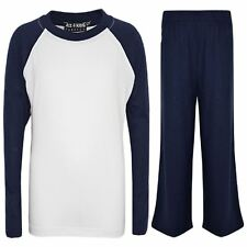 Kids Girls Boys PJs Plain Color Stylish Color Cotrast Pyjamas Set Age 5 6 7