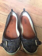 MICHAEL KORS Brown MK Logo Leather/PVC Canvas Buckle Espadrille Ballet Flats 8