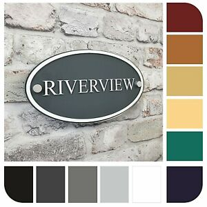 Personalised Contemporary House Address/Number Sign Plaque OVAL