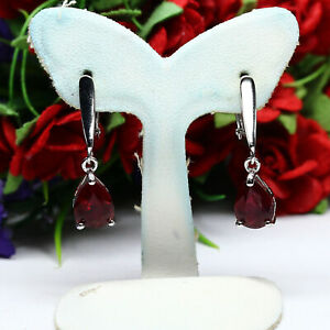 NATURAL 7 X 9 mm. PEAR BLOOD RED RUBY EARRINGS 925 STERLING SILVER