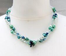 Collar de perlas de Agua Dulce Cadena Perlas ejemplar Único Dos Filas 3968