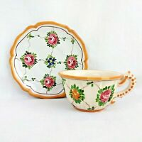 Vintage Ardalt Italy Tea Cup with Saucer Rose Pansy Pink Blue Floral 1101 4213