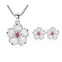 925 Sterling Silver Pink Crystal Cherry Blossoms Earrings Necklace Set Jewelry