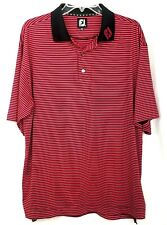 FJ Foot Joy mens polo shirt size L red black striped golf outdoor fitness sport