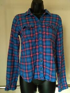 Abercrombie & Fitch Blue Pink Plaid 100% Cotton Long Sleeve Flannel Shirt Sz S