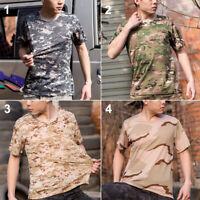Short Sleeve Men Women Camouflage T-Shirt Quick Drying Mesh Tactical Military