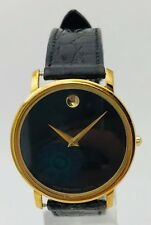 Mens Classic Movado Museum Black Leather Strap and Dial Vintage 34mm Watch