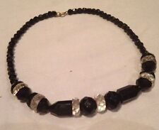 Art Deco? French Jet And Clear Vintage Glass Bead Necklace