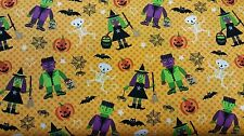 Halloween Skeleton Spider Web Witch Monsters 100% cotton fabric by the yard