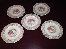 """5 Royal China Union Made """"Robinhood"""" Warranted 22KT Gold Scrolled Bread Plates"""