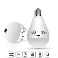 360°HD Wifi Bulb Hidden IP Camera Panoramic Home Security Cam Light LED Bulb