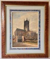 Antique English Church Original Watercolor Herman Axel Haig 1866