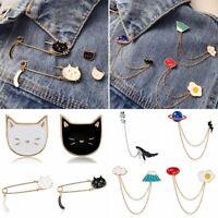 Fashion Women Men Enamel Cute Cat Brooch Pin Badge Summer Jewelry Accessories
