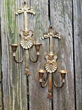 Vintage Brass Angel Cherub Candelabra Wall Sconce Candle Holders SET OF 2 ❤️J8