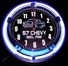 "'57 BEL AIR LOGO - 11"" Blue Neon Wall Clock"
