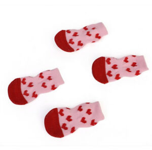 4 Cute Pet Socks Puppy Dog Indoor Soft Warm Cotton Anti-slip Pink  - FREE POST!