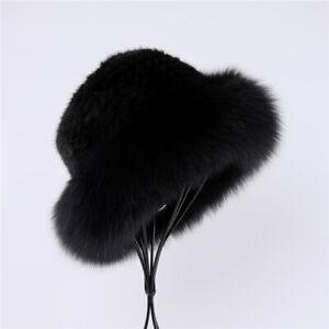 Luxury Women's Winter Warm 100% Mink Fur Knitted Bucket Hat Fox Fur Trim Caps