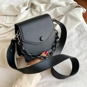 Crossbody Bag Thick Chain Small PU Leather Solid Color Black White Ladies Purse