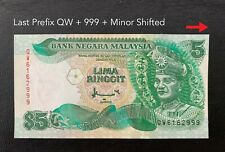 Malaysia - 7th $5 Last Prefix QW + Minor Shifted +999 nice number  | UNC