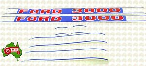 Tractor White Blue Red Decal Sticker Set Kit Ford 3000